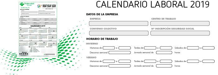 Calendario Laboral 2019 Andalucia.Calendario Laboral Y Festivos 2019 Fraternidad Muprespa